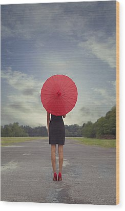 Red Parasol Wood Print by Joana Kruse
