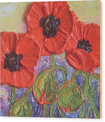 Red Poppies Wood Print by Paris Wyatt Llanso