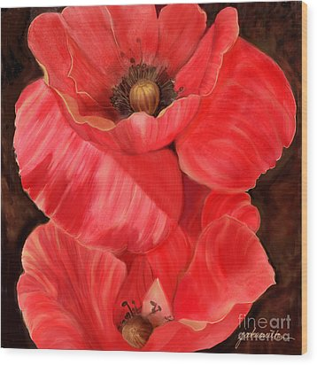Red Poppy One Wood Print by Joan A Hamilton