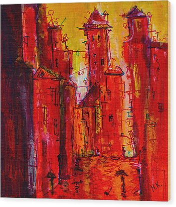 Red Rainy City 2 Wood Print