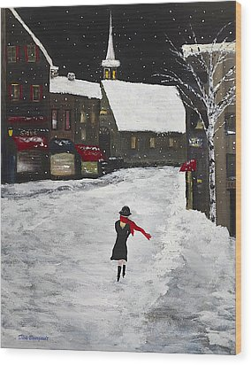 Red Scarf Winter Scene Wood Print by Dick Bourgault