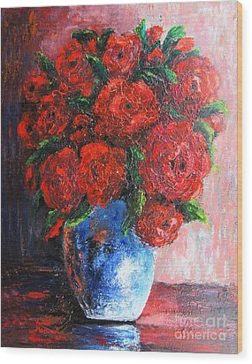 Wood Print featuring the painting Red Scent by Vesna Martinjak