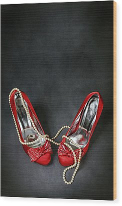 Red Shoes Wood Print by Joana Kruse