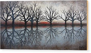 Reflecting Trees Wood Print by Janet King