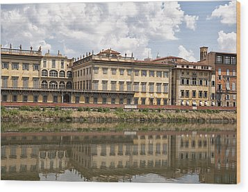 Reflections In The Arno River Wood Print by Melany Sarafis