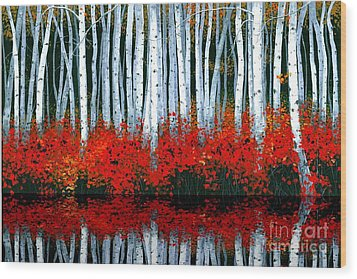 Wood Print featuring the painting Reflections - Sold by Michael Swanson