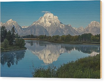 Reflections Of Mount Moran Wood Print