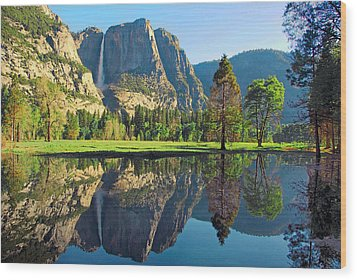 Reflections Of Yosemite Falls Wood Print