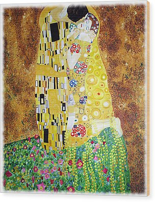 Reproduction Of - The Kiss By Gustav Klimt Wood Print by Ze  Di