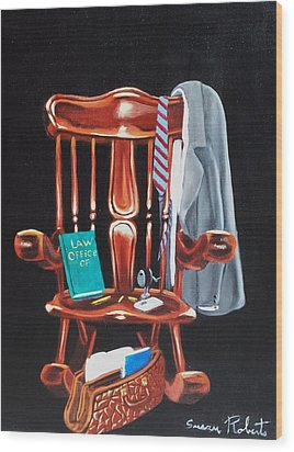 Wood Print featuring the painting Retiring Lawyer by Susan Roberts