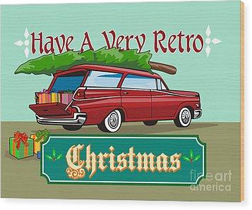 Retro Christmas Tree Station Wagon Wood Print by Aloysius Patrimonio