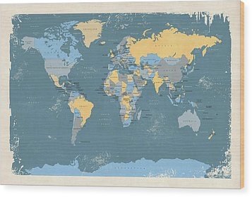 Retro Political Map Of The World Wood Print by Michael Tompsett