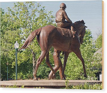 Rider In Bronze Wood Print by Roger Potts