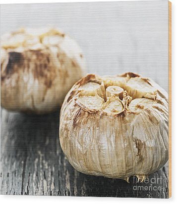 Roasted Garlic Bulbs Wood Print by Elena Elisseeva