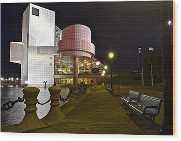 Rock N Roll Hall Of Fame Wood Print by Frozen in Time Fine Art Photography