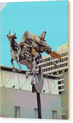 Rocket Cow Sculpture By Michael Bingham Wood Print by Steve Ohlsen
