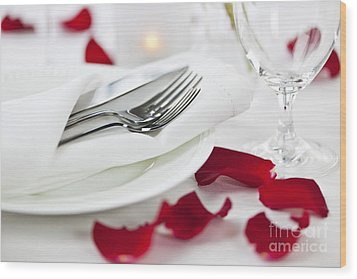 Romantic Dinner Setting With Rose Petals Wood Print by Elena Elisseeva