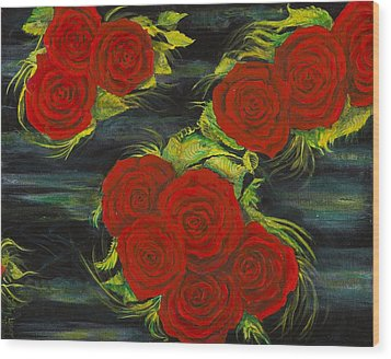 Wood Print featuring the painting Roses Floating by Cathy Long