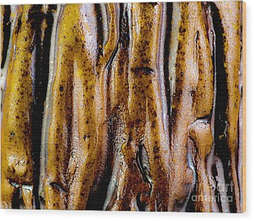 Rough Abstract Ceramic Surface Wood Print by Kerstin Ivarsson