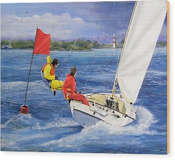 Rounding The Mark Wood Print by Richard Barone