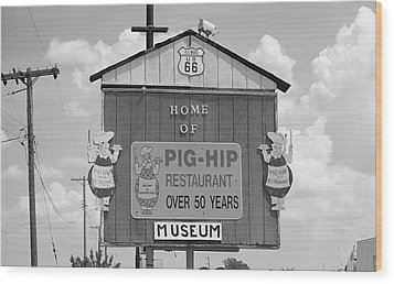 Route 66 - Pig-hip Restaurant Wood Print by Frank Romeo