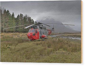 Royal Navy Sar Sea King Xz920 Glencoe Wood Print by Gary Eason