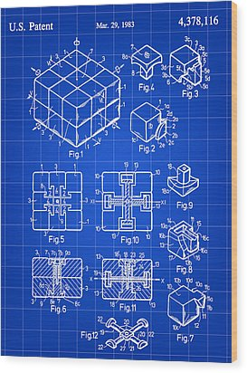 Rubik's Cube Patent 1983 - Blue Wood Print