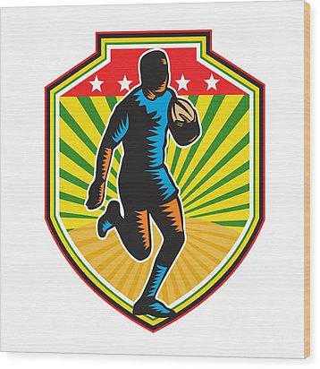 Rugby Player Running Ball Shield Retro Wood Print by Aloysius Patrimonio