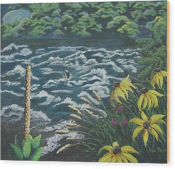 Wood Print featuring the painting Rushing Water by Suzanne Theis