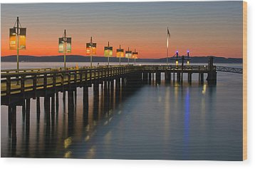 Ruston Way Tacoma Sunset Wood Print