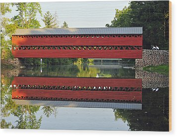 Sachs Covered Bridge Wood Print by Dan Myers