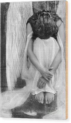Sad Angel Woman Wood Print by Jill Battaglia