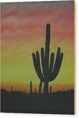 Saguaro Sunset Wood Print by Aaron Thomas