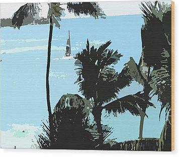 Sailboat And Luscious Palms Wood Print by Karen Nicholson