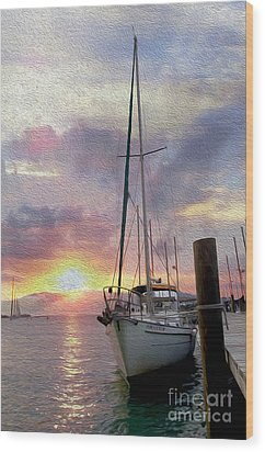 Sailboat Wood Print by Jon Neidert