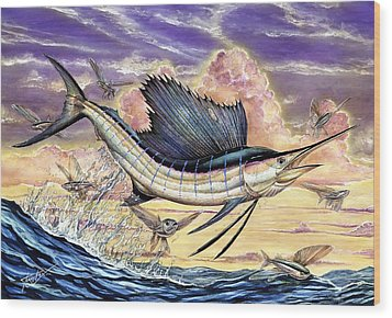 Sailfish And Flying Fish In The Sunset Wood Print