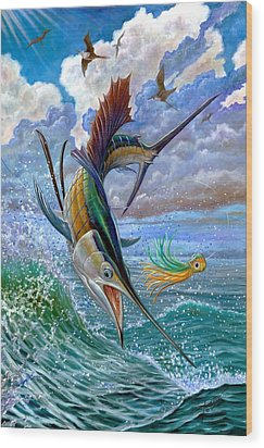 Sailfish And Lure Wood Print by Terry Fox