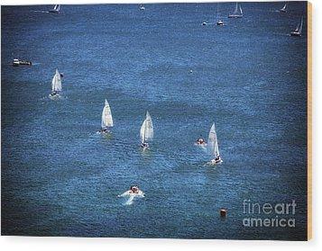 Sailing Wood Print by John Rizzuto