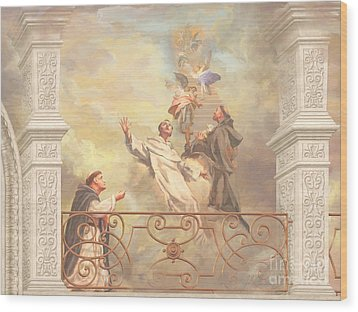 Saints Dominic Benedict And Francis Of Assisi 2 Wood Print by John Alan  Warford