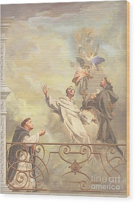 Saints Dominic Benedict And Francis Of Assisi II Wood Print by John Alan  Warford