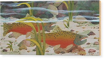 Salmon Wood Print by Katherine Young-Beck