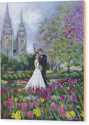 Salt Lake Temple-married In Spring Wood Print