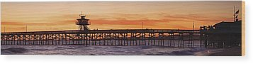 San Clemente Municipal Pier In Sunset Wood Print by Richard Cummins