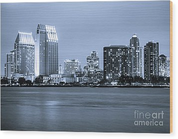 San Diego At Night Wood Print by Paul Velgos