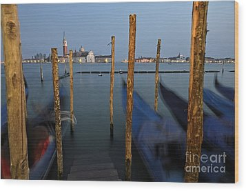 San Giorgio Maggiore Church And Gondolas At Dusk Wood Print by Sami Sarkis