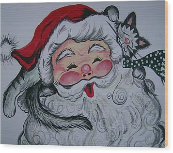 Wood Print featuring the painting Santa And Company by Leslie Manley