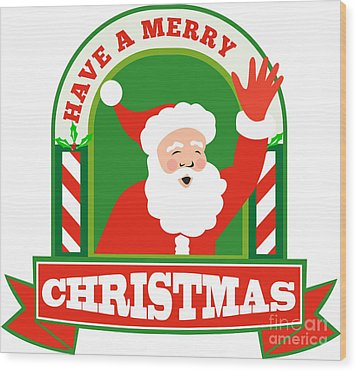 Santa Claus Father Christmas Retro Wood Print by Aloysius Patrimonio