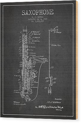 Saxophone Patent Drawing From 1928 Wood Print