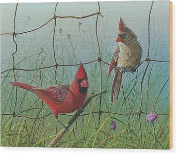 Wood Print featuring the painting Scarlet by Mike Brown