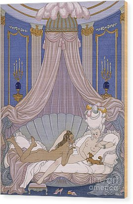 Scene From 'les Liaisons Dangereuses' Wood Print by Georges Barbier